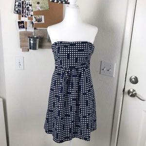 GAP Linen Cotton Navy Polka Dot Sleeveless Dress